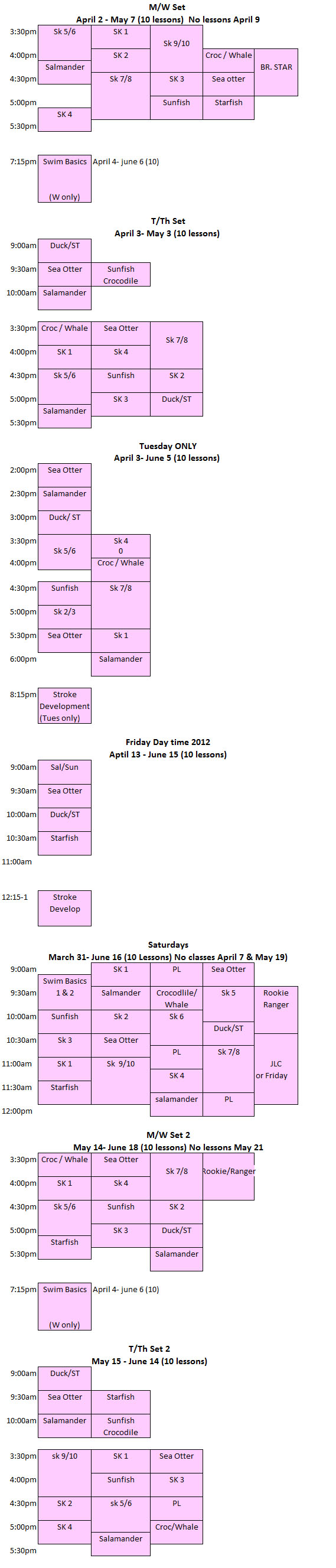 swim less sched spring 2012