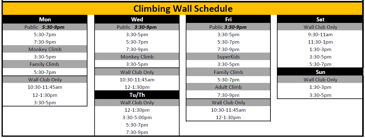Climbiing Wall Schedule April 2021