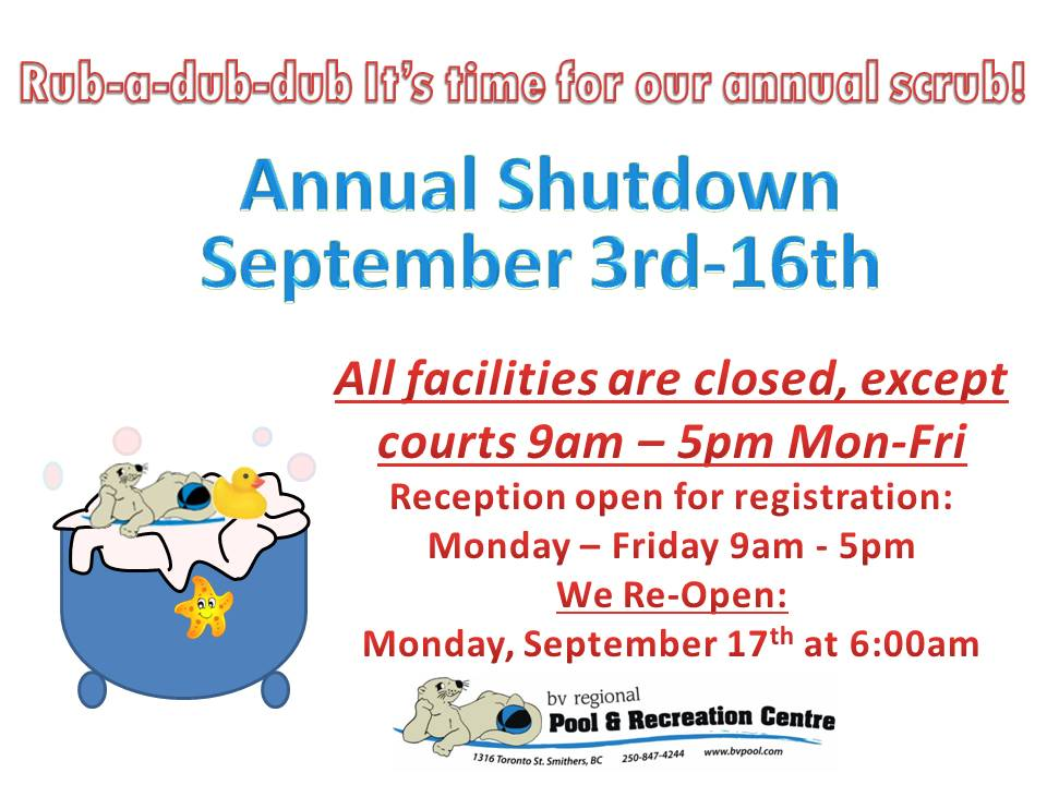 Annual Shutdown closure notice 2018
