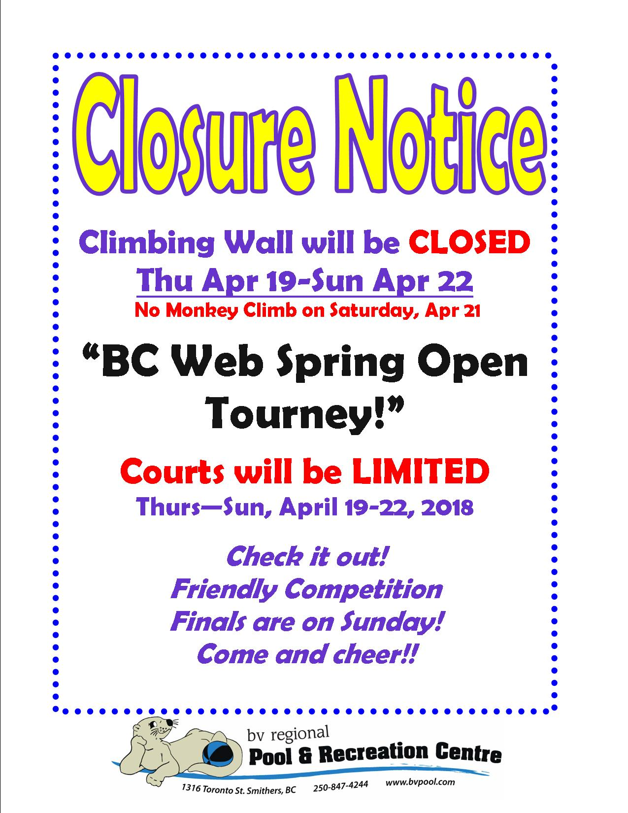 Climbing Wall closed for squash tourney