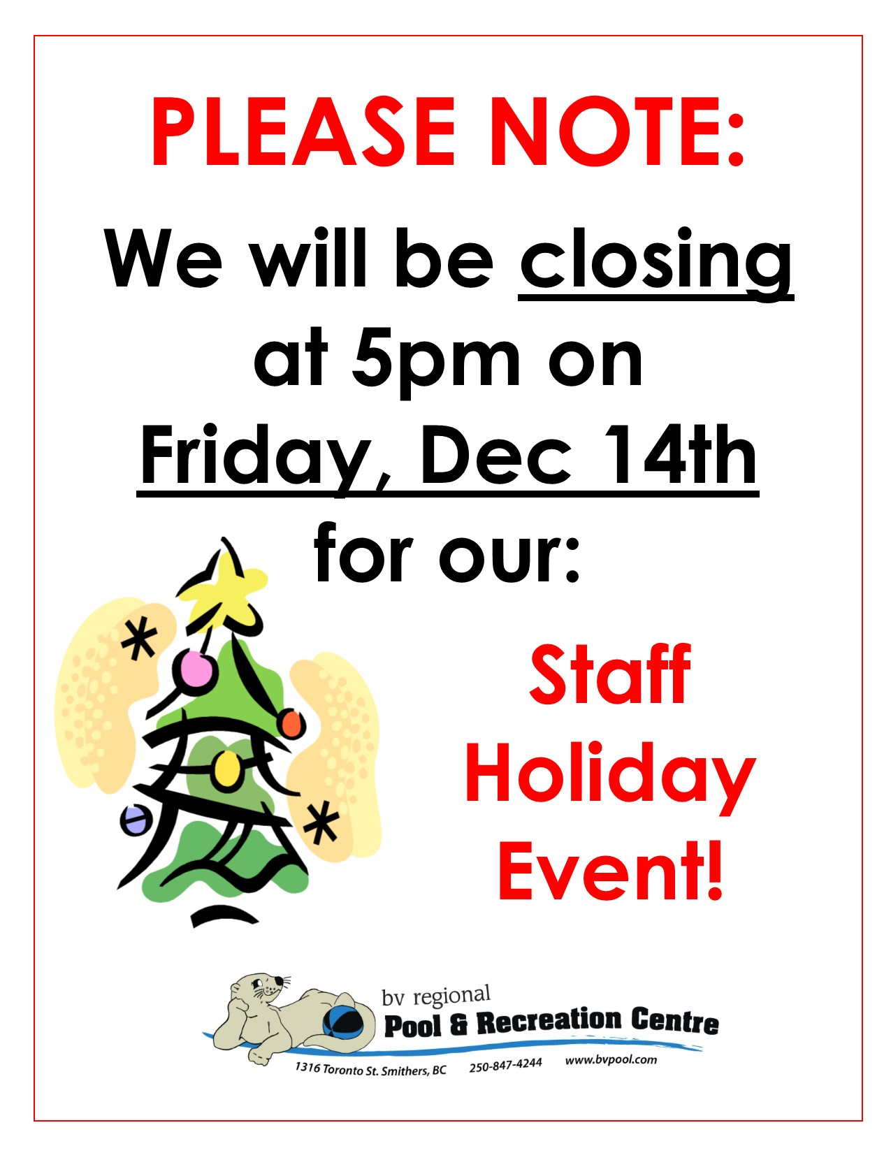 Staff Christmas Party Closure