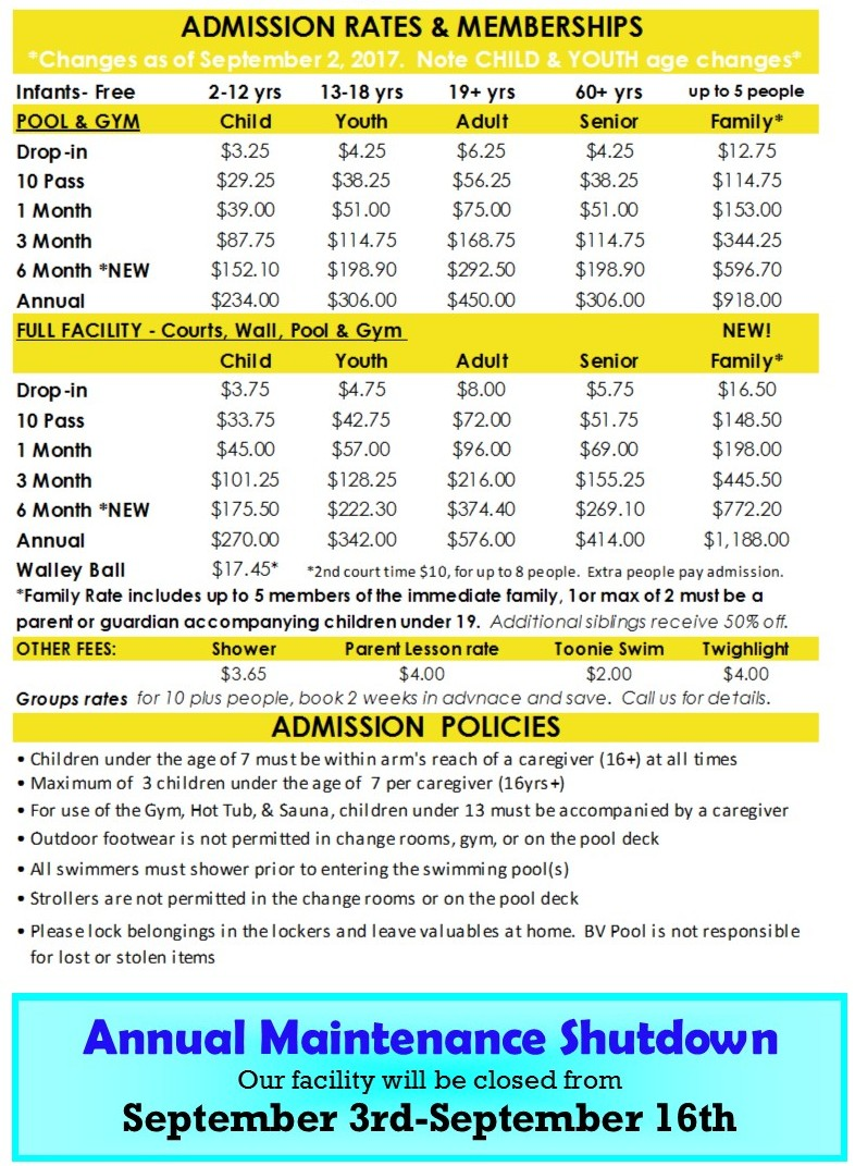 Summer Admission Rates