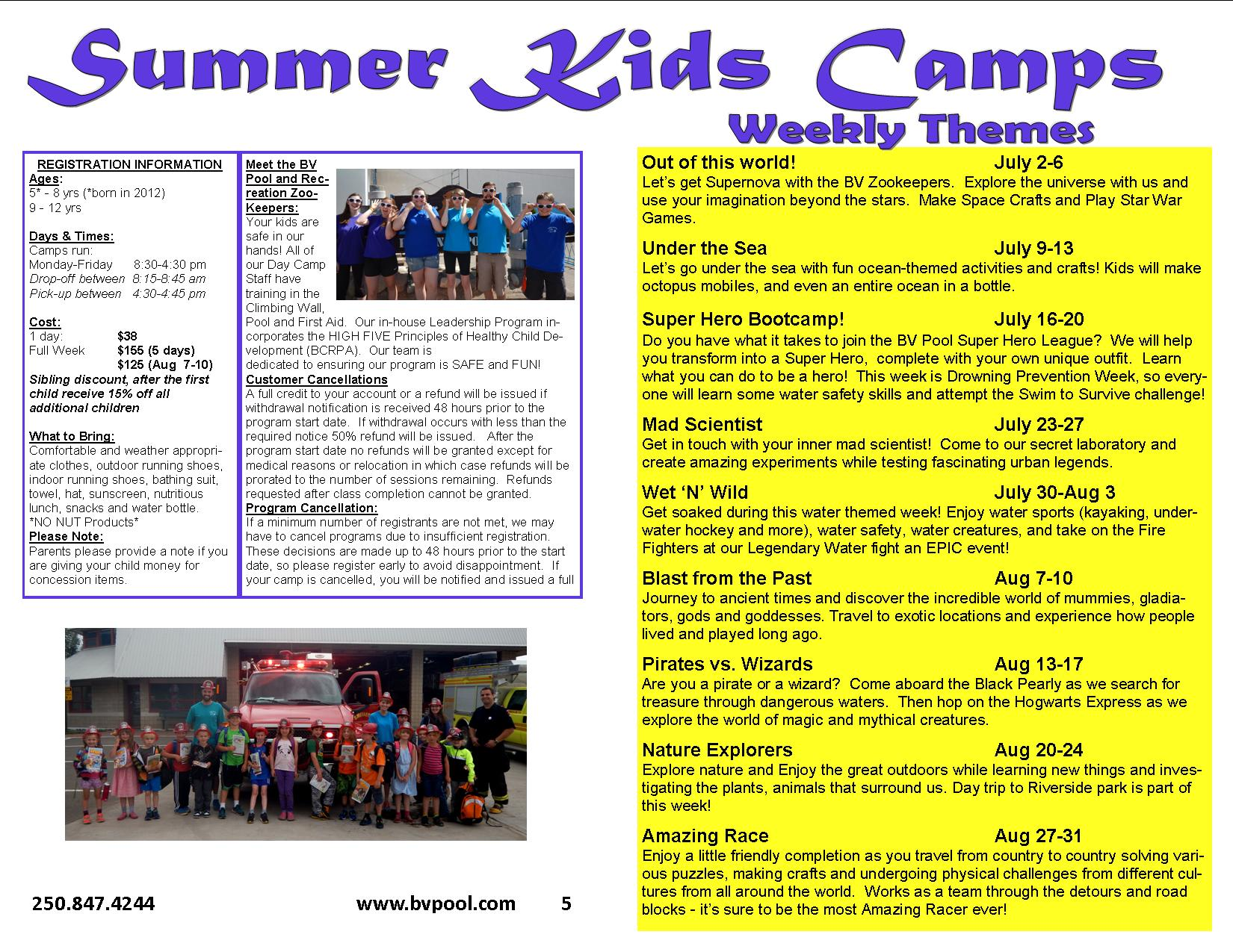 Summer Kids Camp 2018 Themes