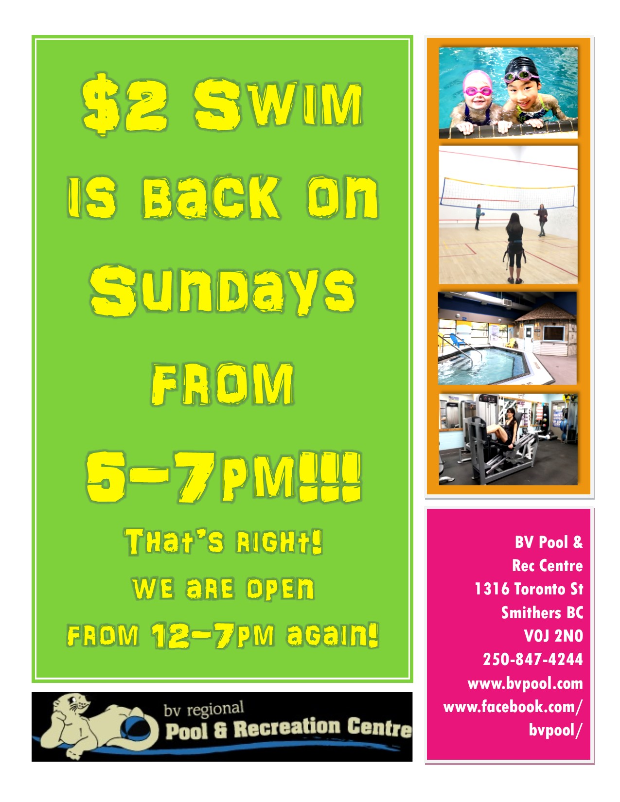 Toonie Swim is back on Sundays