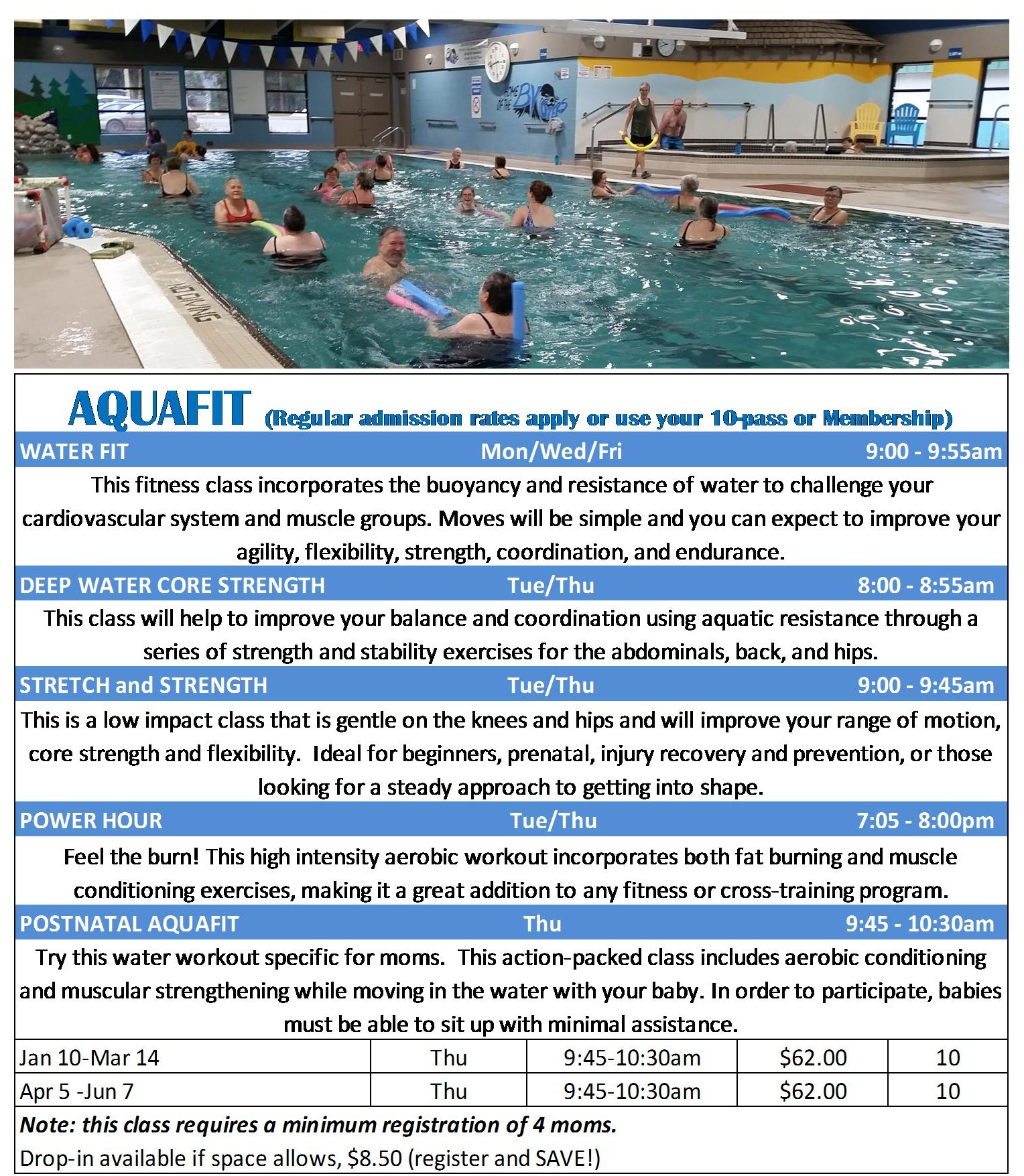 Winter and Spring 2019 Aquafit schedule