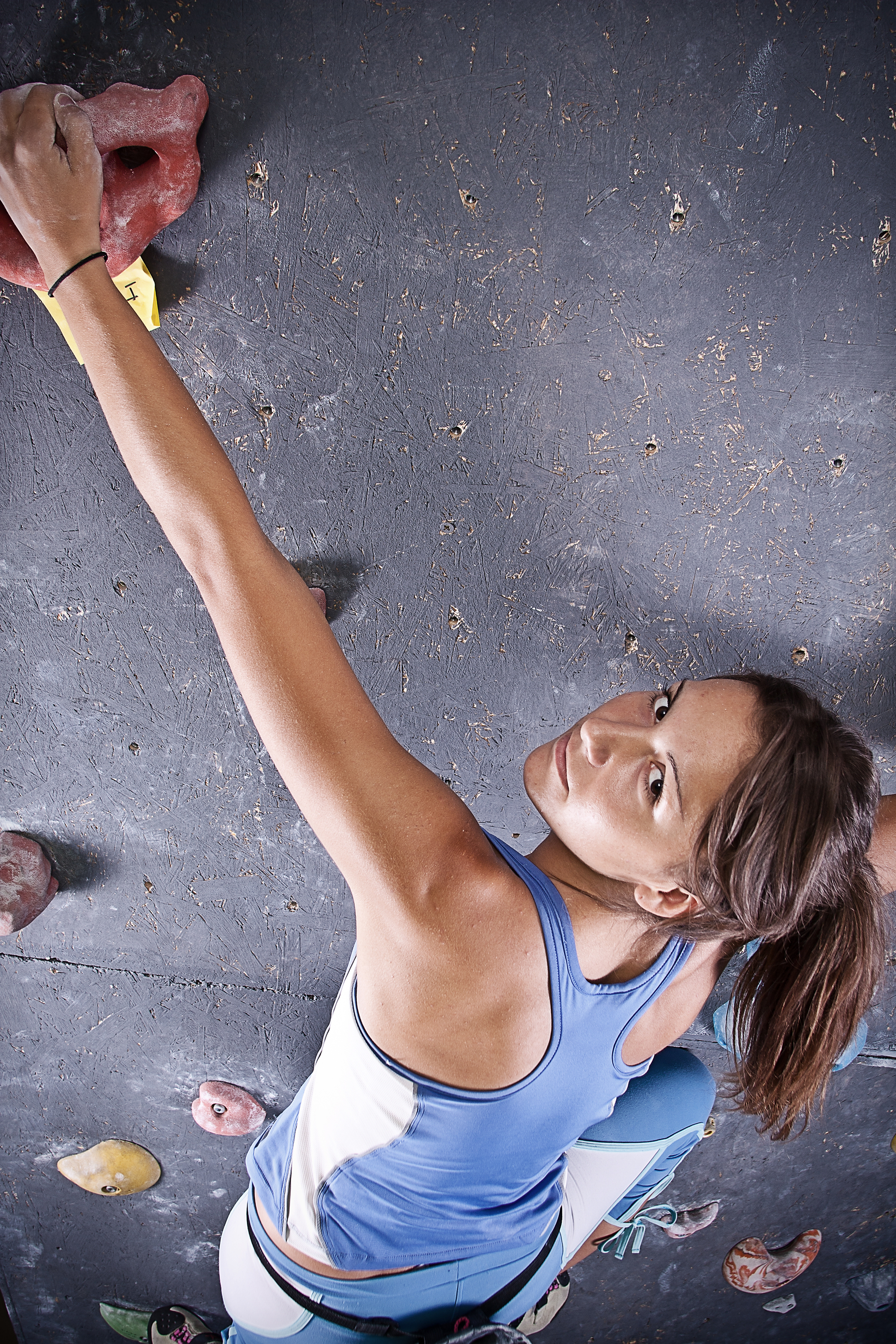 girl on climbing wall